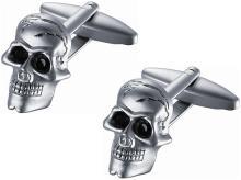 Satin Stainless Steel Skull Cufflinks with Black Crysta