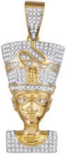 10kt Yellow Gold Mens Round Diamond Nefertiti Pharaoh Charm Pendant 5/8 Cttw