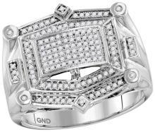 10kt White Gold Mens Round Diamond Rectangle Cluster Studded Ring 1/2 Cttw