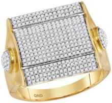 10kt Yellow Gold Mens Round Diamond Square Cluster Ring 1-1/10 Cttw