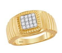 10kt Yellow Gold Mens Round Diamond Square Cluster Ribbed Accent Ring 3/8 Cttw