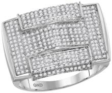10kt White Gold Mens Round Pave-set Diamond Rectangle Arched Cluster Ring 1.00 Cttw
