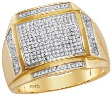 10kt Yellow Gold Mens Round Pave-set Diamond Square Cluster Ring 1/2 Cttw