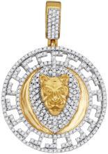 10kt Yellow Gold Mens Round Diamond Lion Head Medallion Charm Pendant 7/8 Cttw