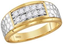 10kt Yellow Gold Mens Round Natural Diamond Cluster 2-tone Hammered Band Wedding Anniversary Ring 1/2 Ctw