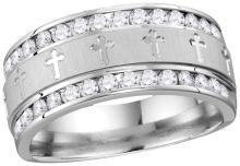 14k White Gold Mens Natural Round Diamond Grecco Christian Cross Wedding Anniversary Band Ring 1.00 Cttw