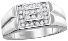 10kt White Gold Mens Round Natural Diamond Rectangle Cluster Fashion Ring 3/8 Cttw