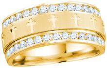 14k Yellow Gold Mens Natural Round Diamond Grecco Christian Cross Wedding Anniversary Band Ring 1.00 Ctw