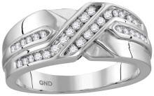 10kt White Gold Mens Round Natural Diamond Band Wedding Anniversary Ring 1/4 Cttw