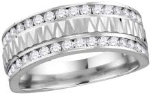 14kt White Gold Mens Round Natural Diamond Grecco Band Wedding Anniversary Ring 1.00 Cttw