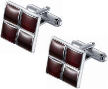 Ridged Red Enamel Square Cufflinks
