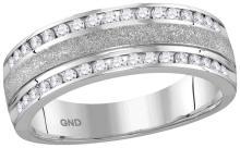 14k White Gold Mens Natural Round Diamond Grecco Wedding Anniversary Band 1/2 Cttw