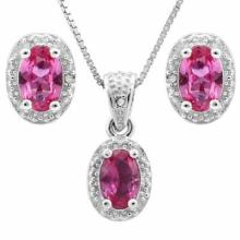 2.00 CT CREATED PINK SAPPHIRE & 5PCS GENUINE DIAMOND PLATINUM OVER 0.925 STERLING SILVER SET