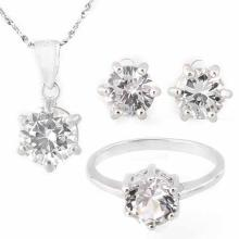 7 3/5 CARAT CREATED WHITE SAPPHIRE 925 STERLING SILVER SET