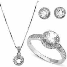 3 2/3 CARAT WHITE TOPAZ & DIAMOND 925 STERLING SILVER SET