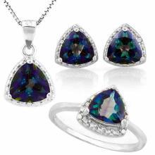 4 3/5 CARAT OCEAN MYSTIC GEMSTONE & DIAMOND 925 STERLING SILVER SET ( Ring, Earring and Pendant)