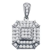 Womens 10K White Gold Cushion Cluster Genuine Diamond Charm Pendant 1/2 CT