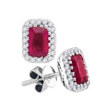 14kt White Gold Womens Cushion Natural Ruby Solitaire Diamond Screwback Earrings 1-1/2 Cttw