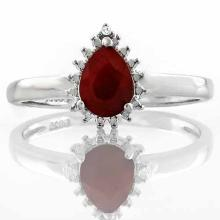 3/4 CARAT GENUINE RUBY & DIAMOND 925 STERLING SILVER RING