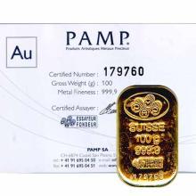 PAMP Suisse 100 Gram Gold Bar - Poured Design
