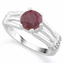 1 3/5 CARAT RUBY & (20 PCS) FLAWLESS CREATED DIAMOND 925 STERLING SILVER RING