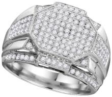 10kt White Gold Mens Round Diamond Polygon Octagon Cluster Ring 1-1/2 Cttw