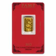 PAMP Suisse 5 Gram Gold Bar 2012 - Dragon Design
