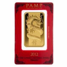 PAMP Suisse 100 Gram Gold Bar - 2012 Dragon Design