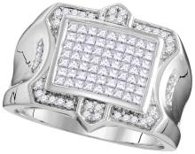 10kt White Gold Mens Princess Diamond Symmetrical Square Cluster Ring 1-1/12 Cttw