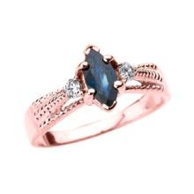 10K Rose Gold Genuine Blue Sapphire and Diamond Proposal Ring APPROX .58 CTW