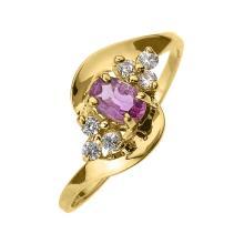 10K Beautiful Yellow Gold Diamond and Pink Sapphire Proposal and Birthstone Ring