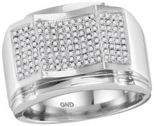 10kt White Gold Mens Round Diamond Arched Concave Square Cluster Ring 1/2 Cttw