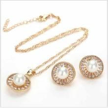FLAWLESS CREATED DIAMOND 18K GOLD PLATED GERMAN SILVER PEARL SET
