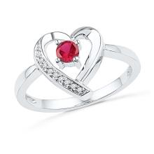 Sterling Silver Womens Round Lab-Created Ruby Solitaire Diamond Heart Ring 1/4 Cttw