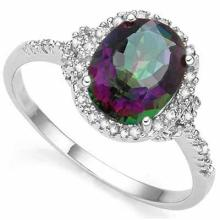 2.61 CARAT TW (3 PCS) MYSTIC GEMSTONE & GENUINE DIAMOND PLATINUM OVER 0.925 STERLING SILVER RING