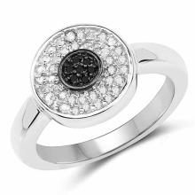 0.20 Carat Genuine Black Diamond and White Diamond .925 Sterling Silver Ring
