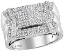 10kt White Gold Mens Round Diamond Indented Square Cluster Ring 1/2 Cttw