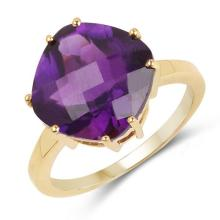 14K Yellow Gold Plated 5.30 Carat Genuine Amethyst .925 Sterling Silver Ring