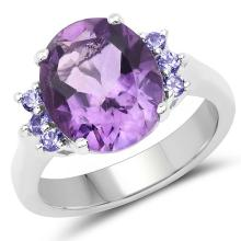4.01 Carat Genuine Amethyst and Tanzanite .925 Sterling Silver Ring