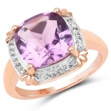 14K Rose Gold Plated 3.67 Carat Genuine Amethyst and White Topaz .925 Sterling Silver Ring