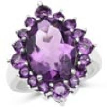 6.22 Carat Genuine Amethyst .925 Sterling Silver Ring