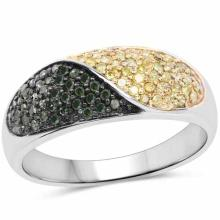 0.32 Carat Genuine Green Diamond and Yellow Diamond .925 Sterling Silver Ring