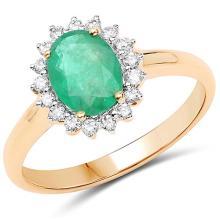 1.43 Carat Genuine Zambian Emerald and White Diamond 14K Yellow Gold Ring