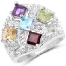 1.67 Carat Genuine Multi Stone .925 Sterling Silver Ring