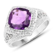 3.02 Carat Genuine Amethyst and White Topaz .925 Sterling Silver Ring