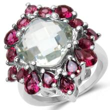8.61 Carat Genuine Green Amethyst & Rhodolite .925 Sterling Silver Ring