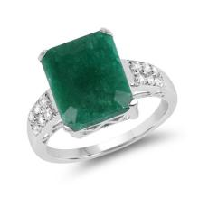 6.54 Carat Dyed Emerald and White Topaz .925 Sterling Silver Ring