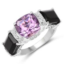 4.53 Carat Genuine Amethyst and Onyx Black .925 Sterling Silver Ring
