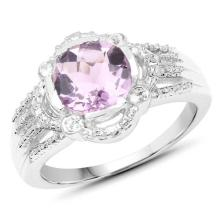2.44 Carat Genuine Amethyst and White Topaz .925 Sterling Silver Ring