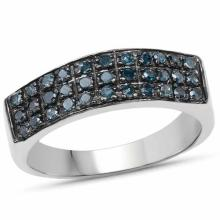 0.40 Carat Genuine Blue Diamond .925 Sterling Silver Ring